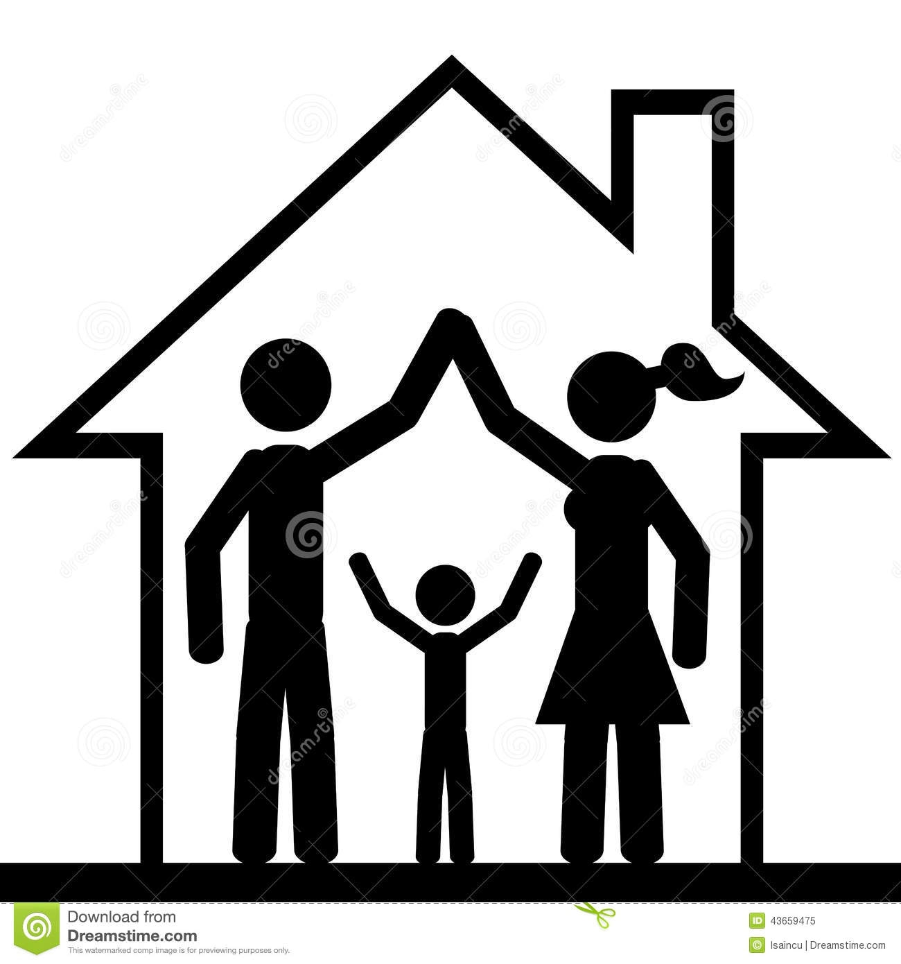 House With Family Clipart Black And White