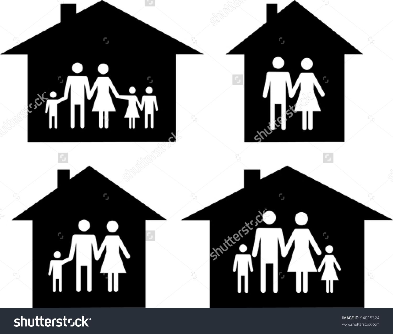 Silhouette Family Icon House Conceptual Vector Stock Vector.