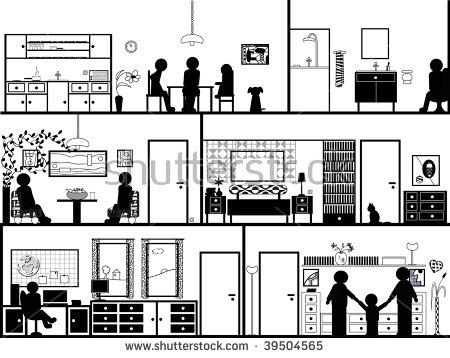 Illustration Inside House Family Sit By Stock Illustration.