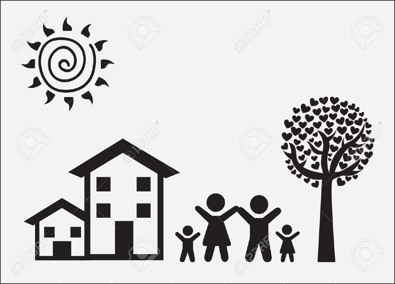 House With Family Clipart Black And White.