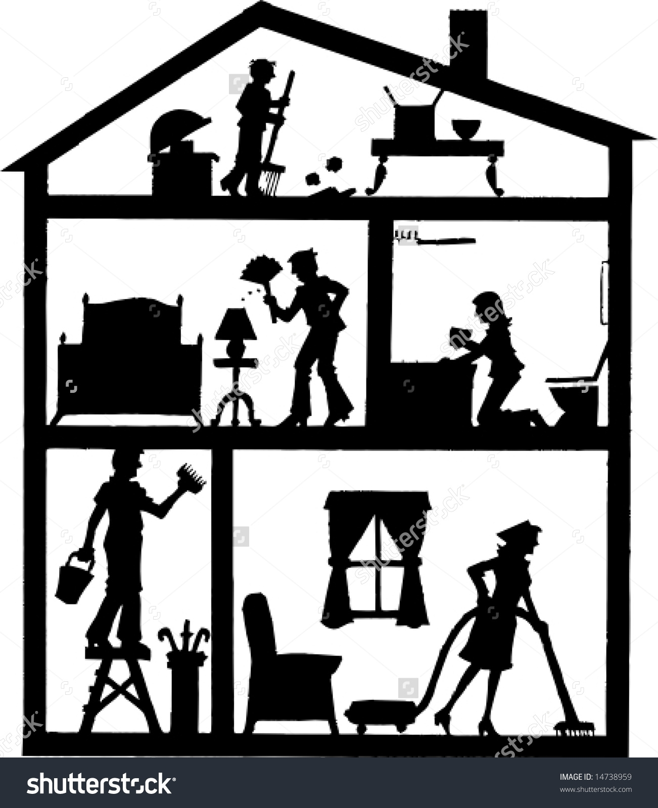 House Cleaning Clip Art Black and White.