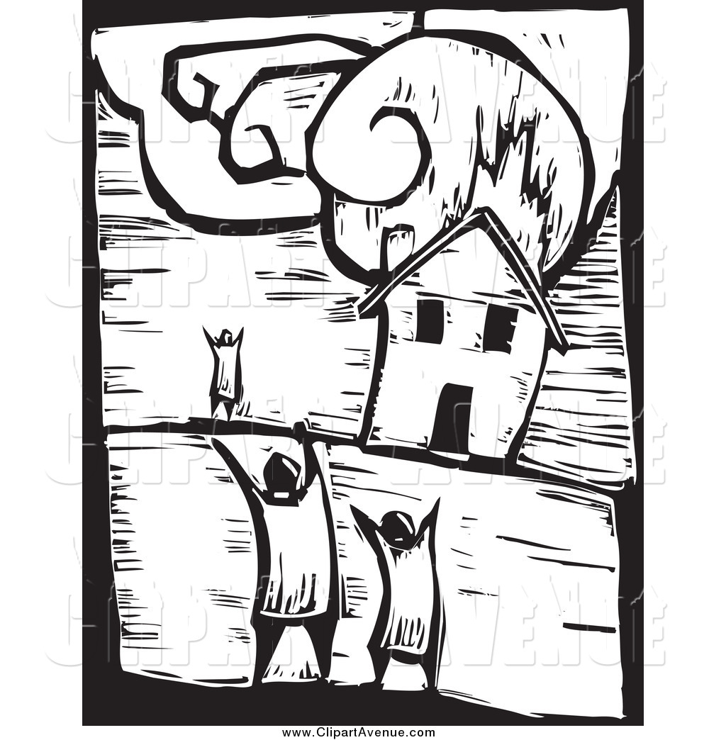 Avenue Clipart of a Black and White Family Watching a House.