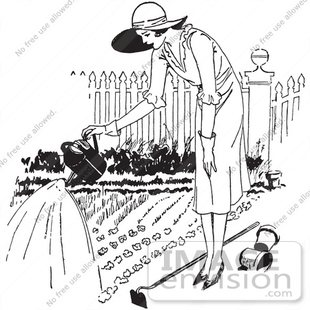 Clipart Of A Retro Woman Watering A Garden In Black And White.