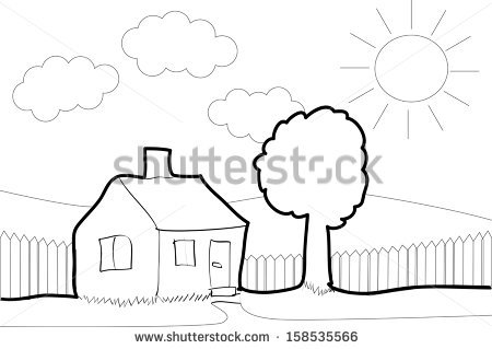 House Garden Child Drawing Stock Images, Royalty.