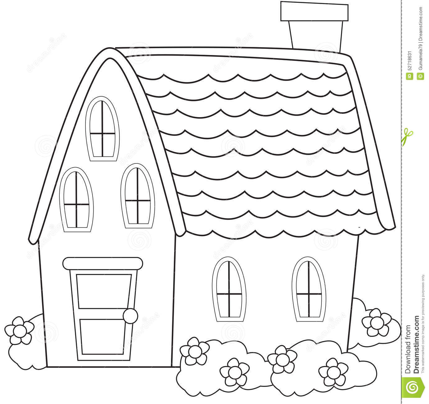 house with garden clipart black
