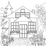 Coloring The House In Black And White Royalty Free Stock Image.