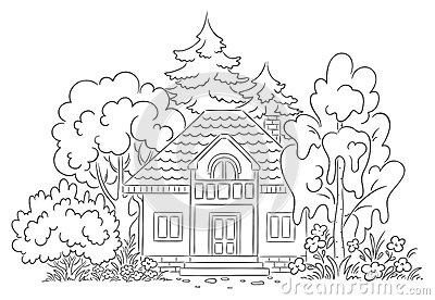 Countryside House With A Garden Stock Vector.
