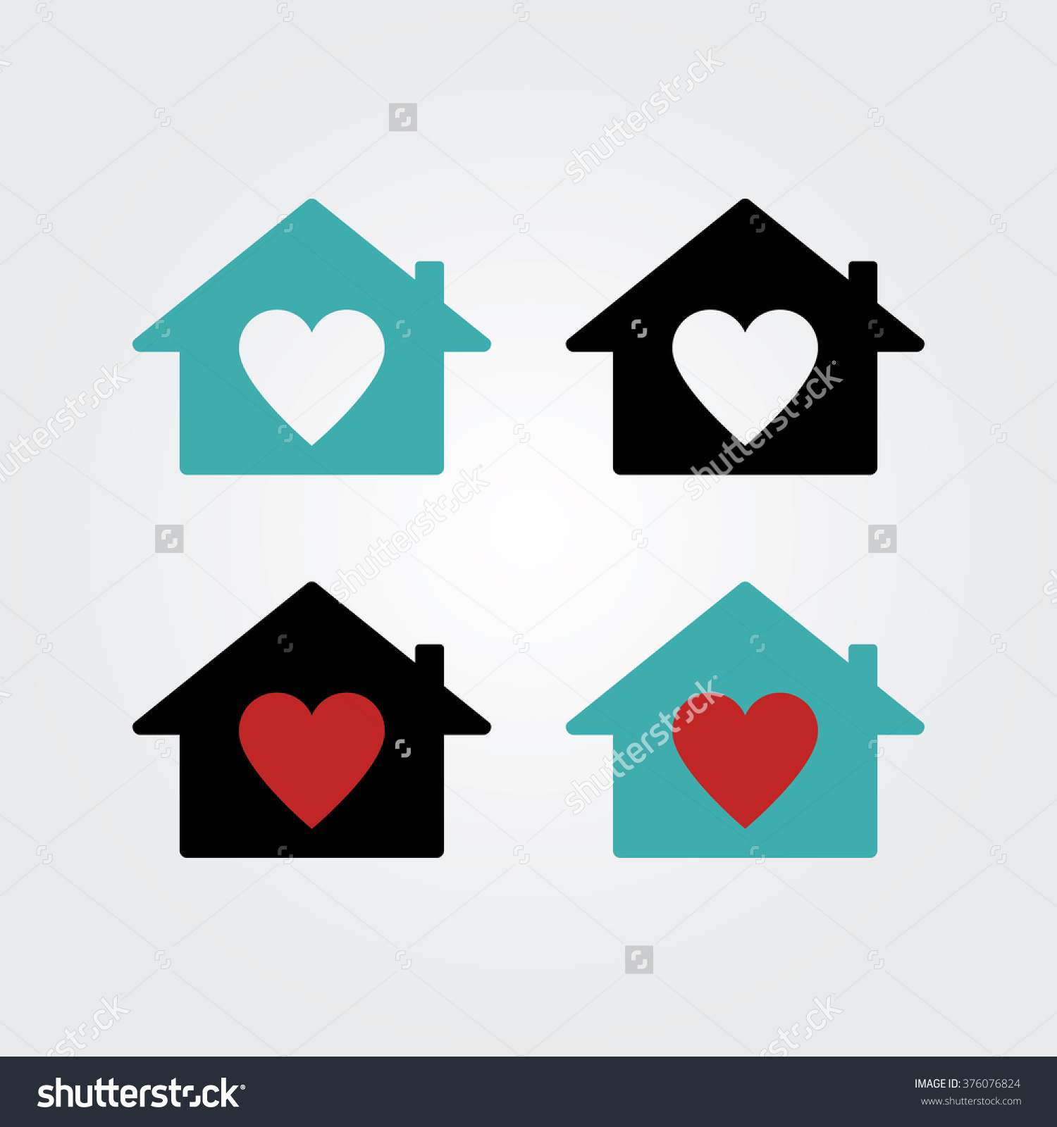 House Heart Icon Real Estate House Stock Vector 376076824.