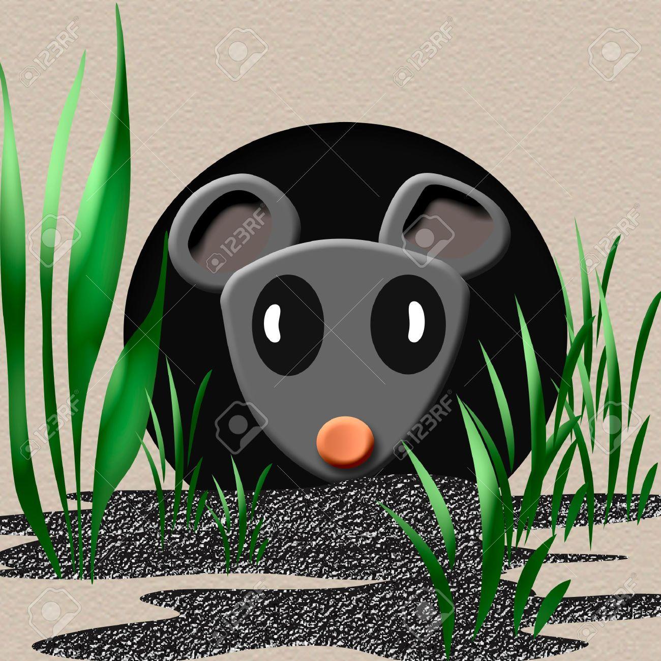 Tiny Gray Mouse Peeking Out Of A Hole Illustration Stock Photo.