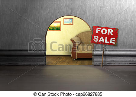 Pictures of Mouse hole in wall with sign for sale. House sale.