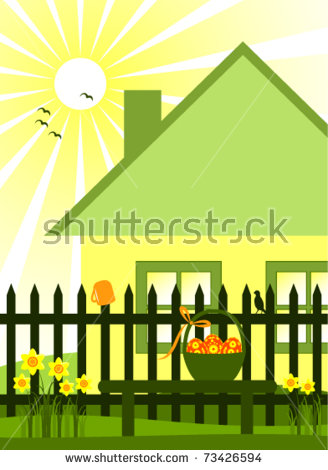 House With White Picket Fence Stock Vectors & Vector Clip Art.