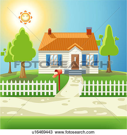 Drawing of House with white picket fence u16469443.