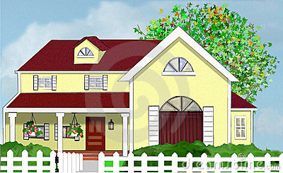 Yellow House And White Picket Fence Stock Photo.