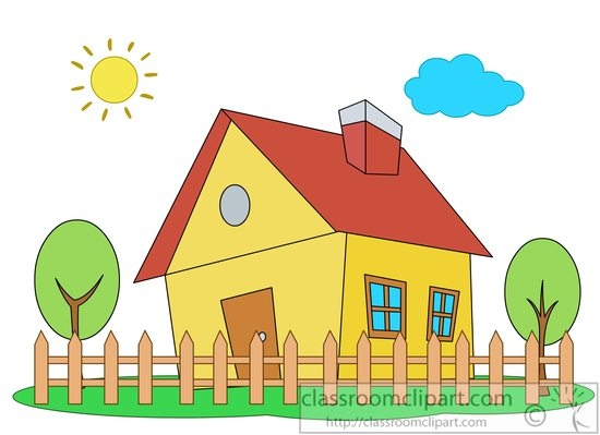 White Picket Fence House Clipart.
