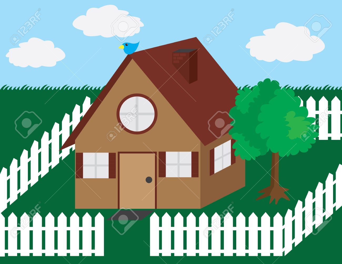 House Illustration With Picket Fence And Tree. Royalty Free.