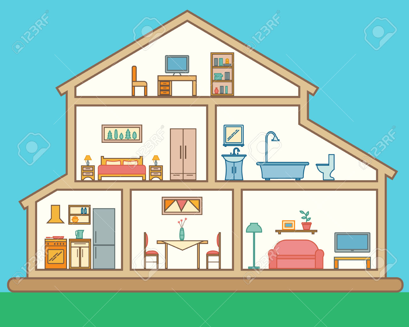House Rooms Clipart.