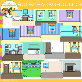 Rooms in a House Backgrounds Clip Art.