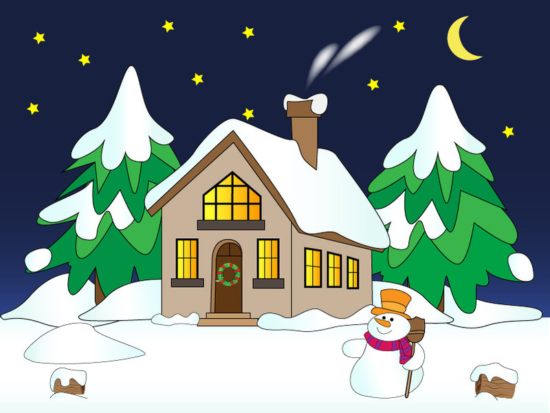 House with Snow Vector Clipart Graphic.