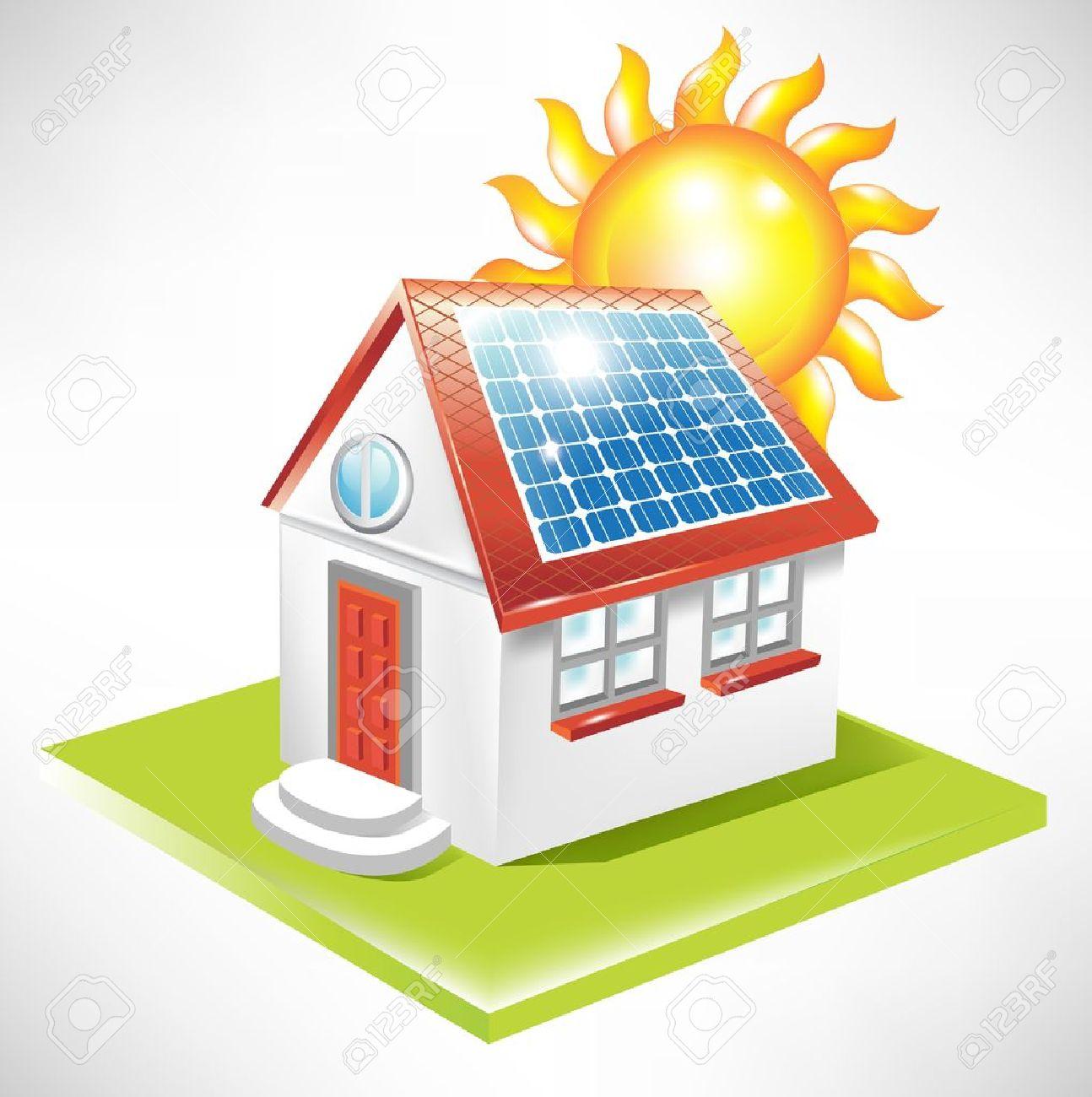house with solar panel; alternative energy icon.