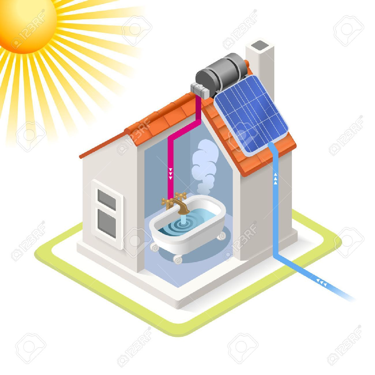 Solar panels on houses clipart » Clipart Portal.