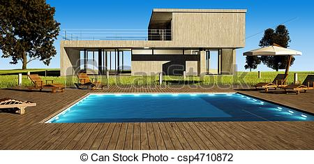 Clip Art of Modern house with pool.