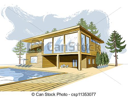 Vector Clip Art of House With Swimming Pool.