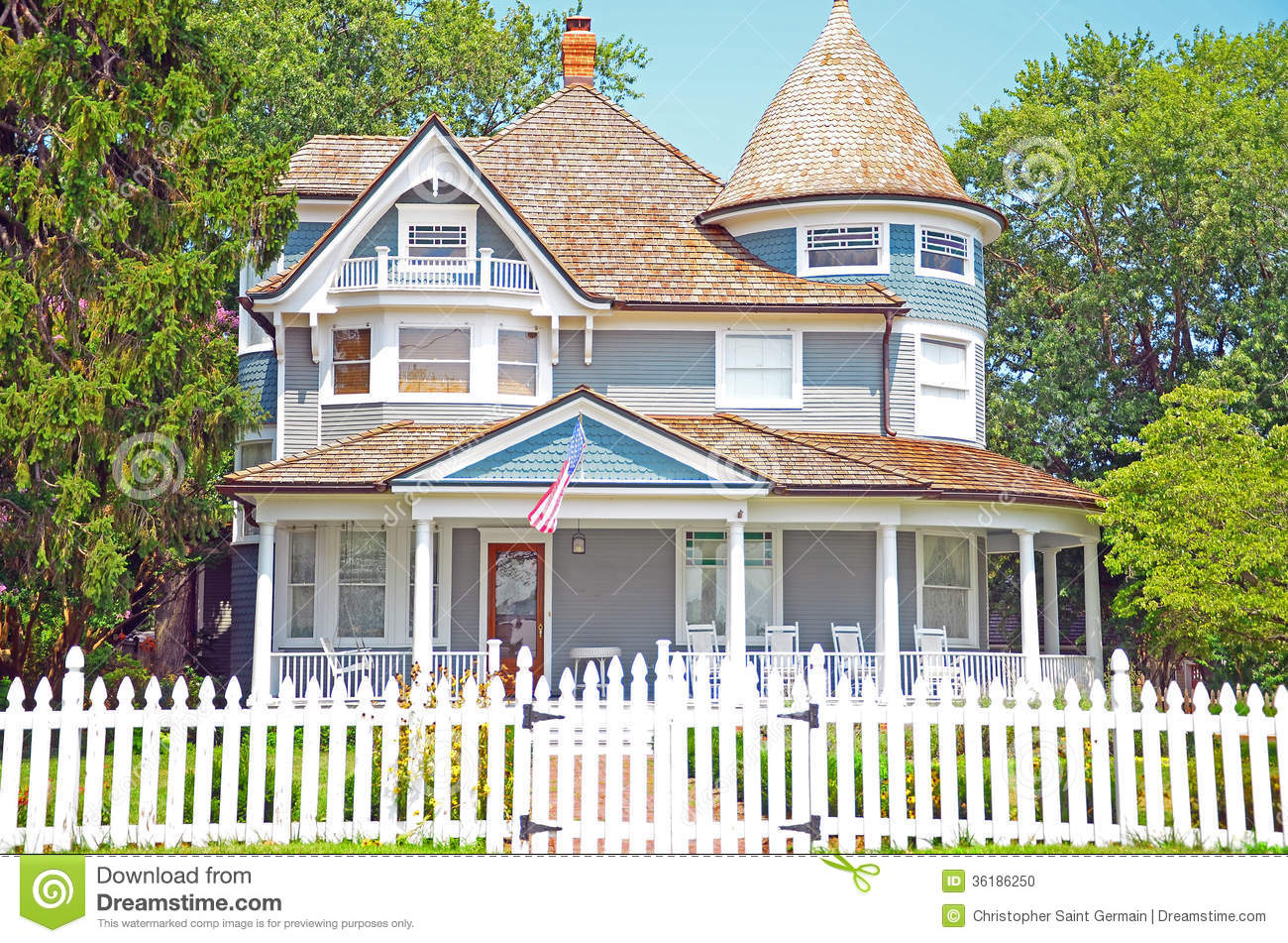 House With White Picket Fence American Dream Clipart.