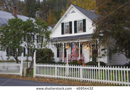 House With White Picket Fence Stock Images, Royalty.