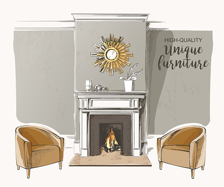 Silhouette Of The Cozy Fireplace Clip Art, Vector Images.