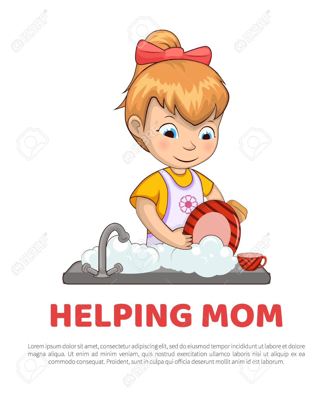Poster and text sample lettering, girl helping mom with chores...