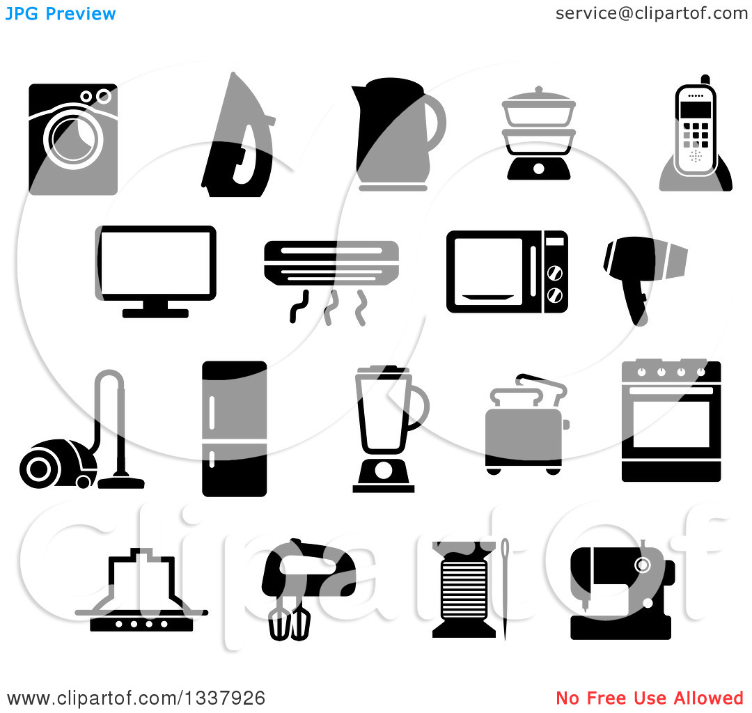 Clipart of Black and White Household Items.