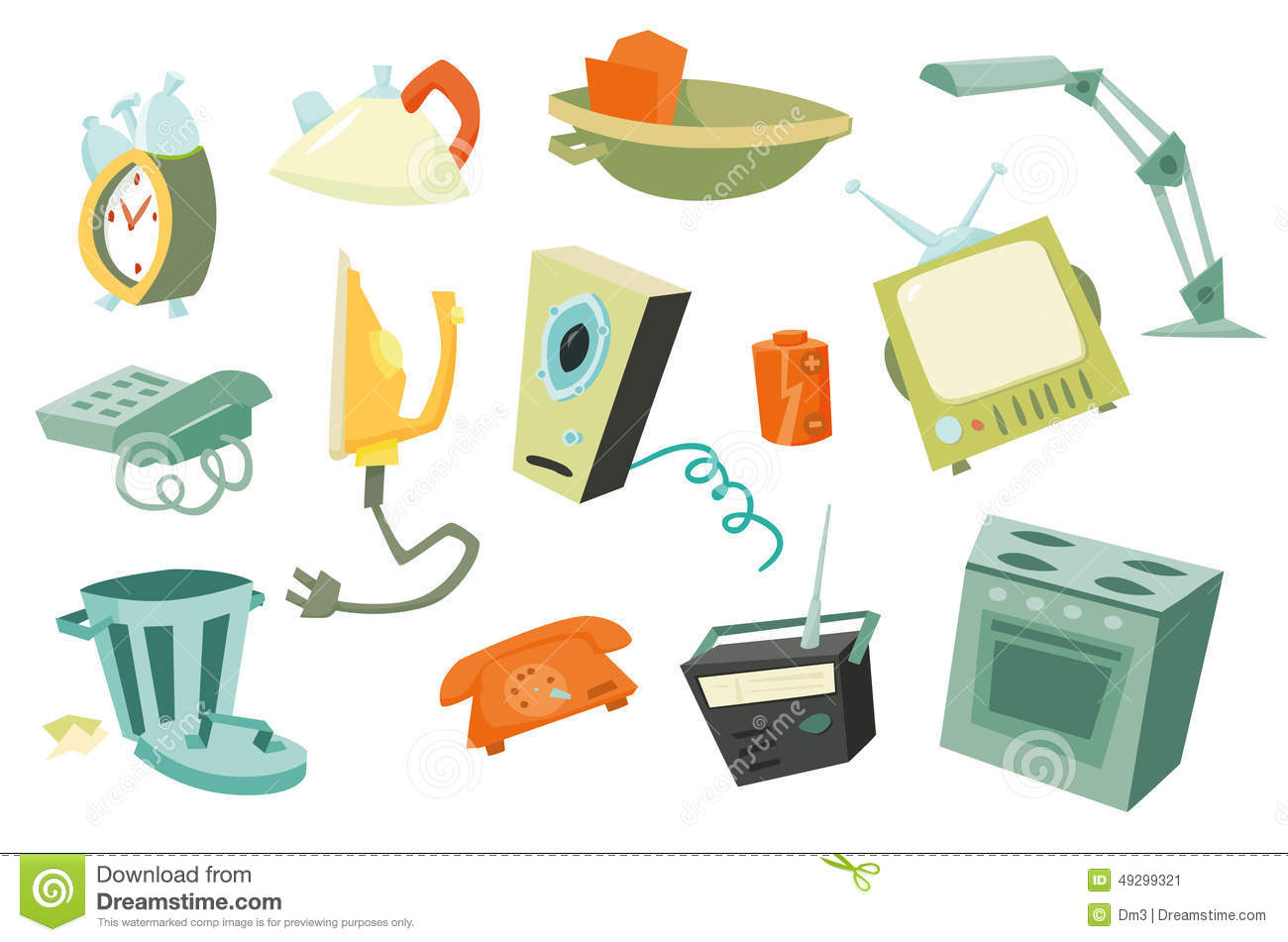 Household Items Alarm Clock Stock Illustrations.