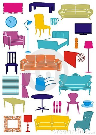 Household Items Collection Stock Illustrations.