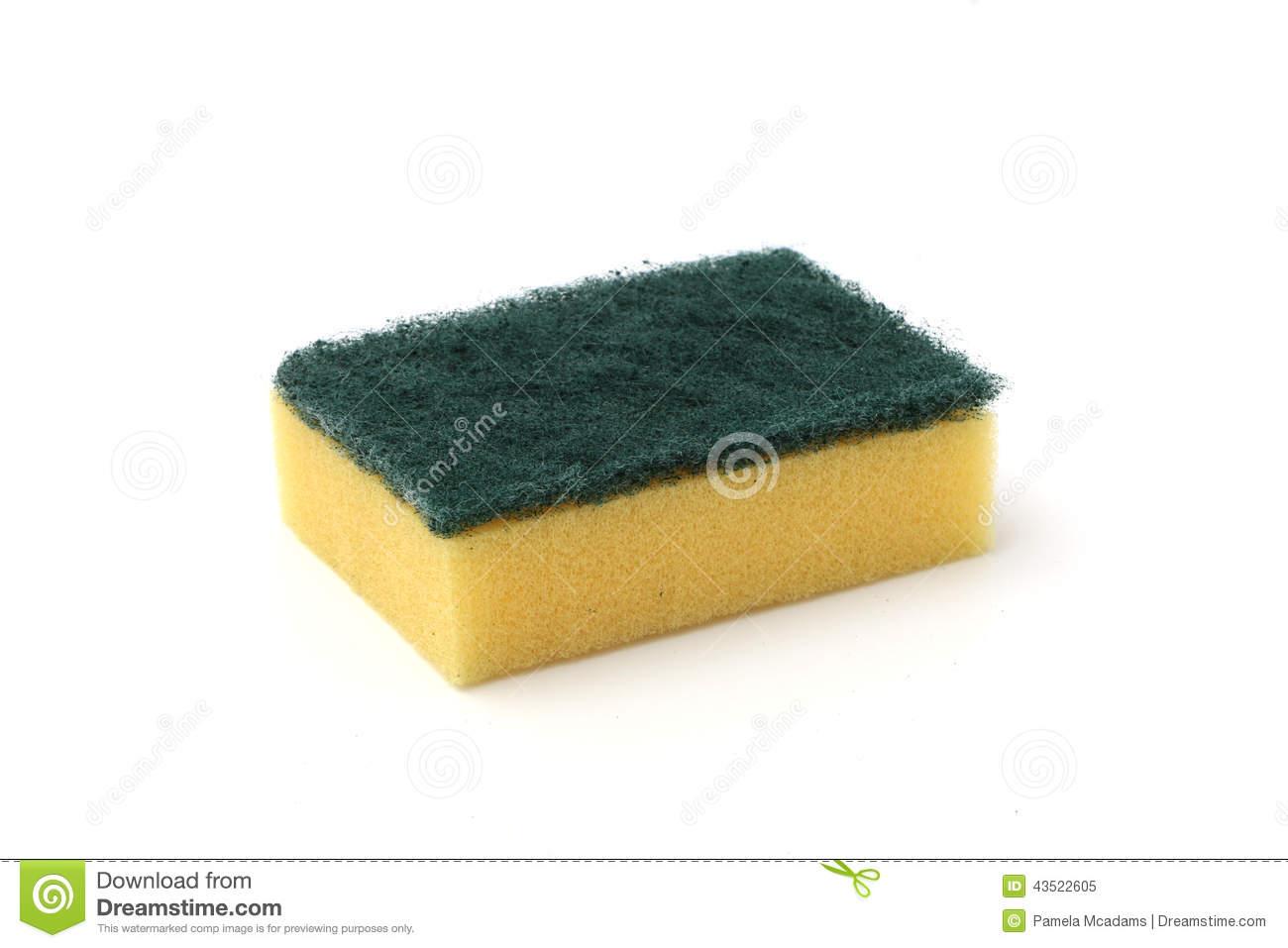 Yellow Kitchen Sponge Stock Photo.