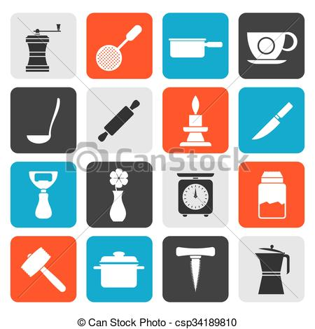 Vector Clip Art of household tools icons.