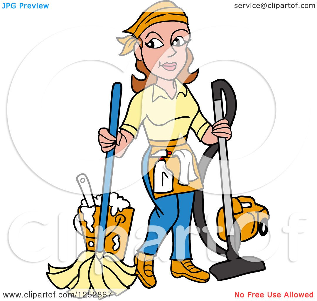 Clipart of a Brunette Caucasian Housekeeper Woman Mopping and.