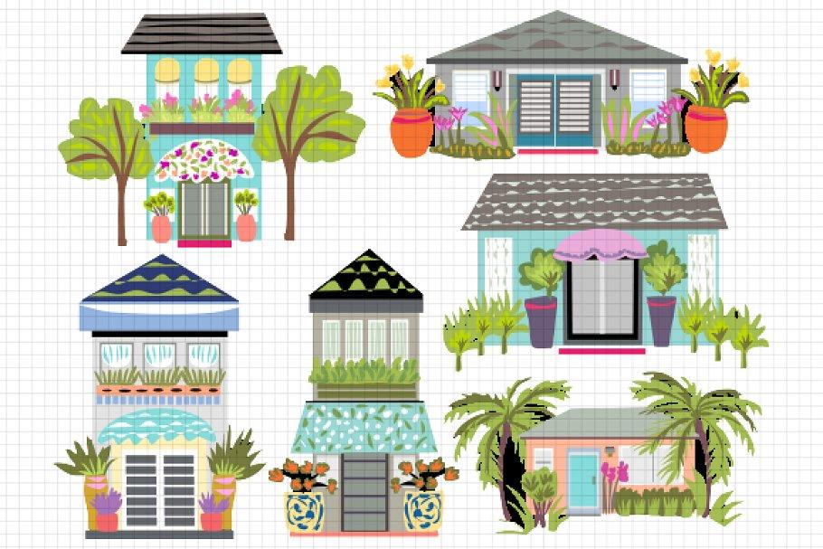 Houses Clip Art 6.