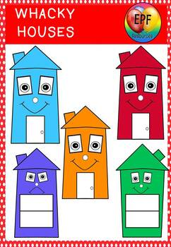 Whacky houses clipart in powerpoint.