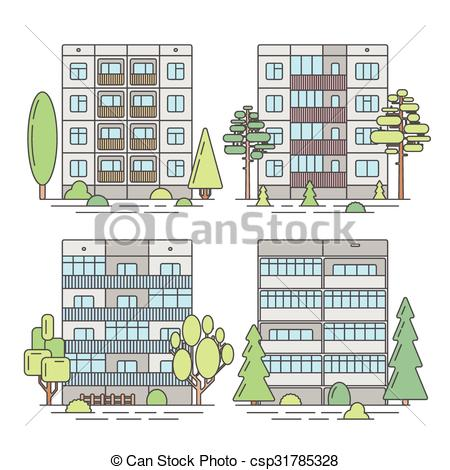 Vector Illustration of Set of color vector linear facades of panel.