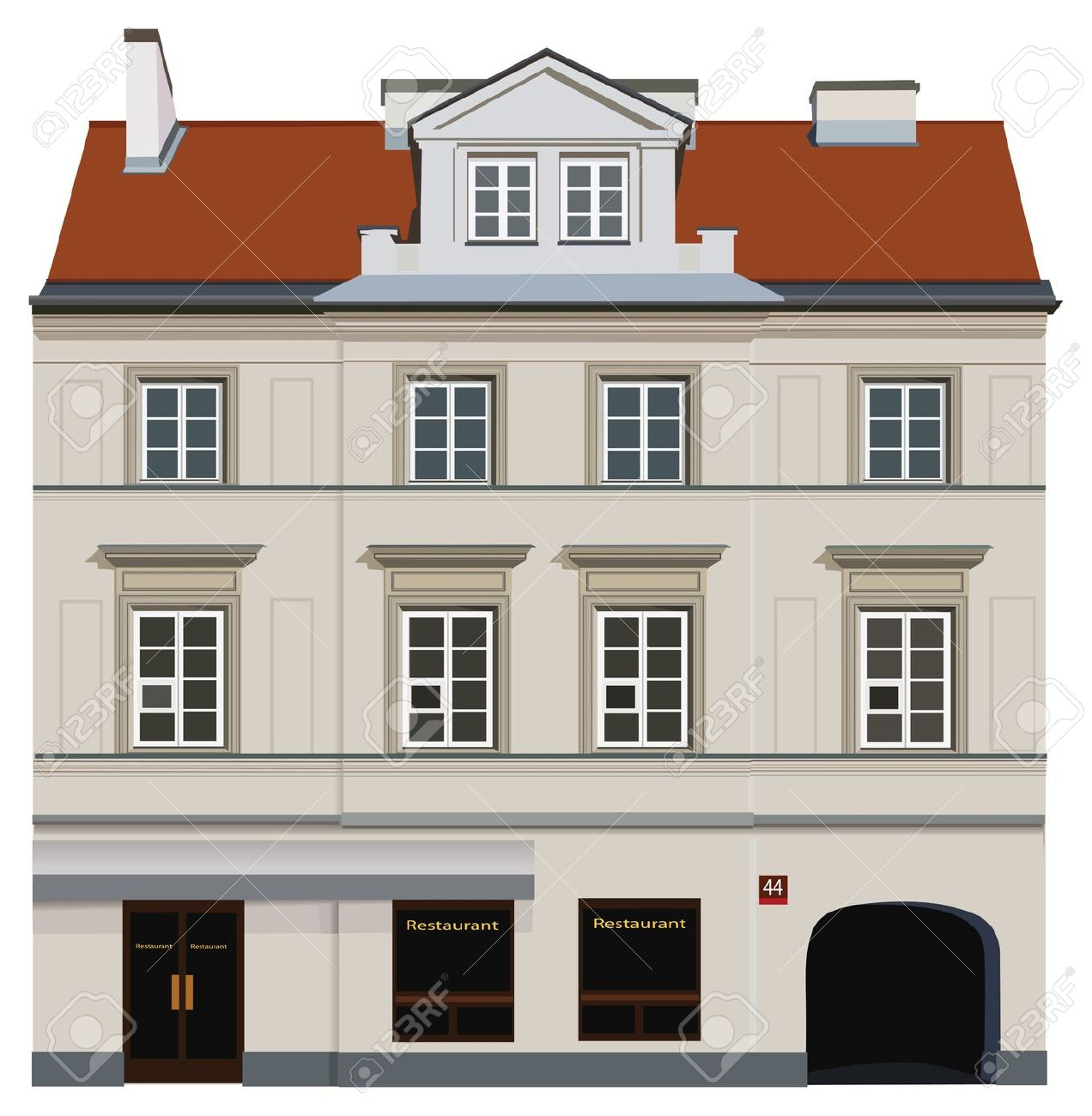 Facade Of Building From Warsaw. Famous Nowy Swiat Street. Royalty.