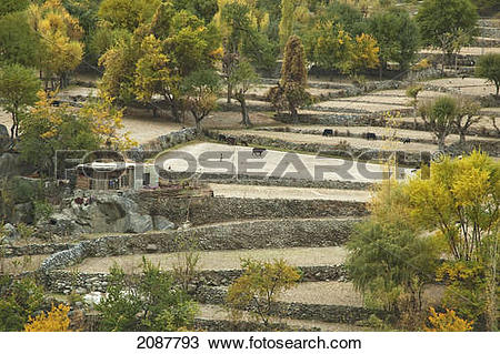Stock Photo of Houses And Fields On A Promontory In The Indus.