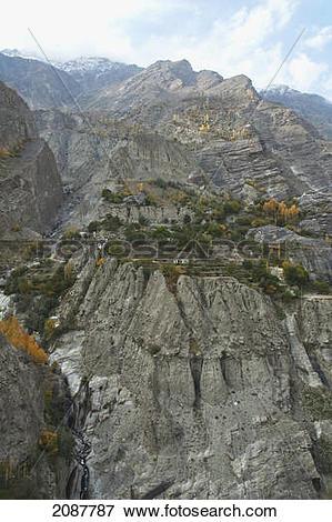 Picture of Houses And Fields On A Promontory Where The Dari Lungma.