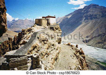 Clip Art of oil painting stylized photo of generic himalayan.