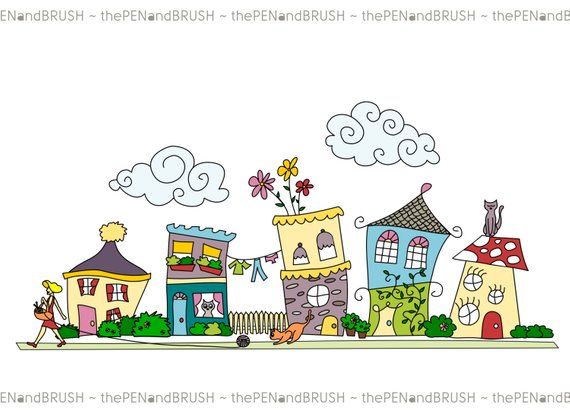 CLIP ART: Cute Houses // Row of Five Unique Hand drawn.