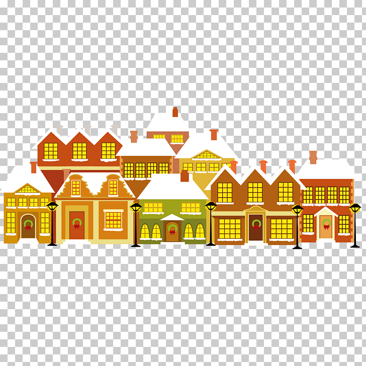 Cartoon House Christmas, A row of houses PNG clipart.