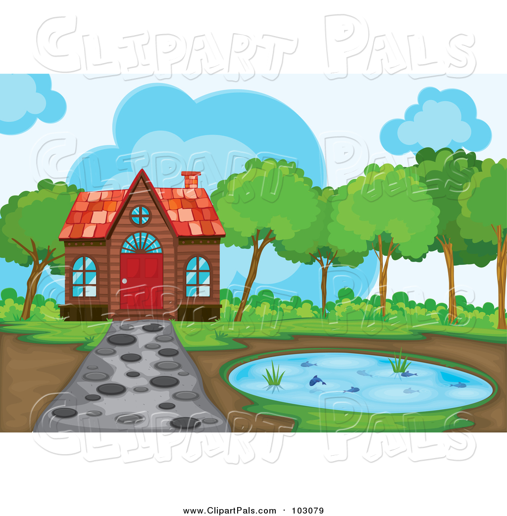 Pal Clipart of a Cabin and Pond with a Stone Path by colematt.