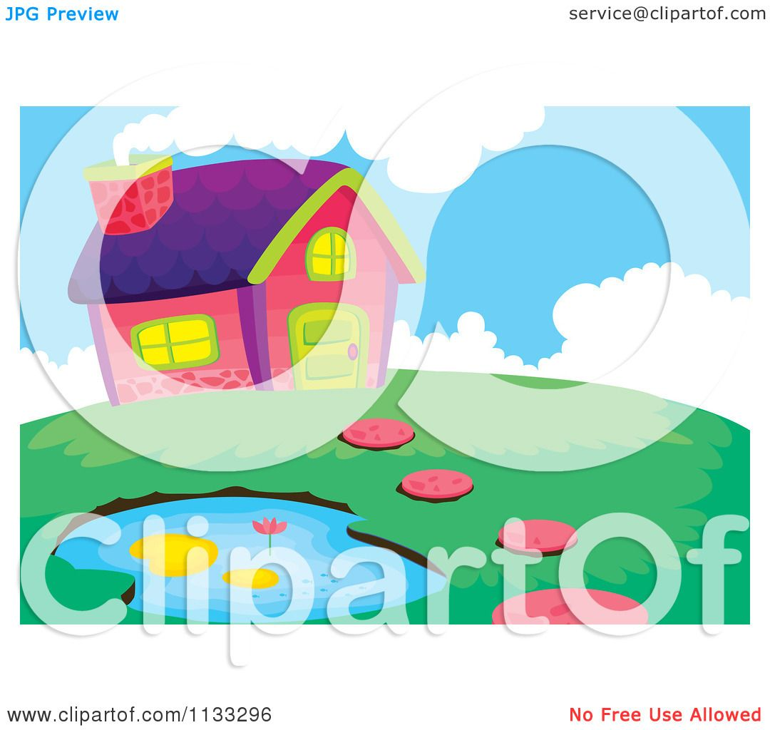 Cartoon Of A Country House And Pond.