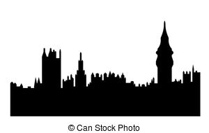 Clip Art of Houses of Parliament London reflected with ripples.