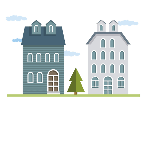 Flat building or houses.