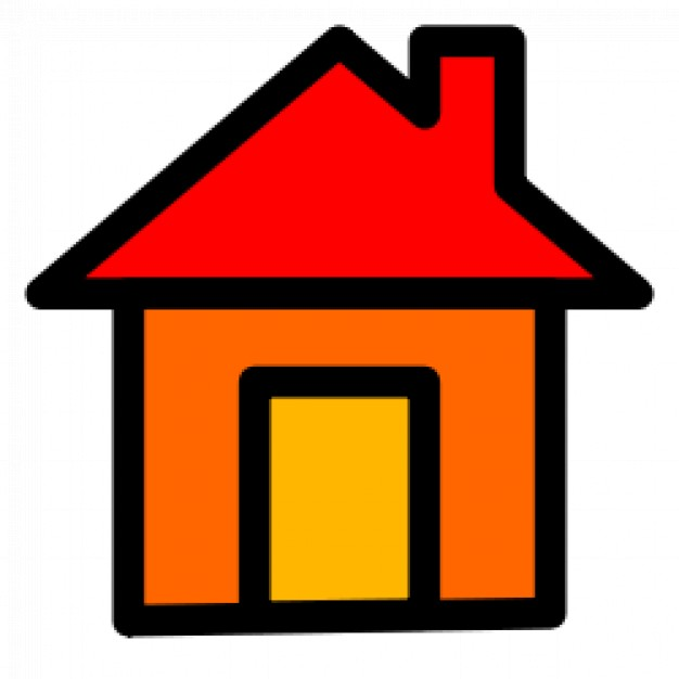 Home with red roof and orange wall Vector.